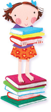 Girl standing on pile of picture books