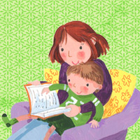 Child reading book with parent